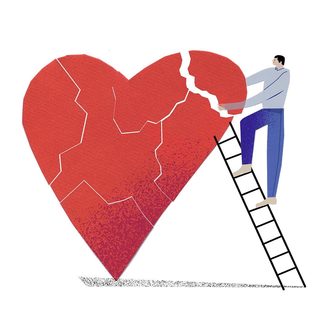 Mann repariert sein gebrochenes Herz